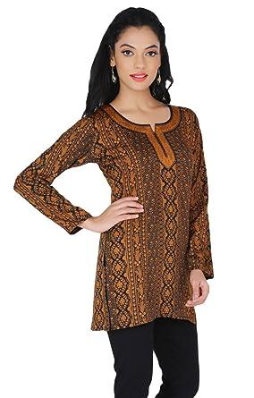 MapleClothing India Kurz Tunika Top Kurti Damen Printed Indische ...
