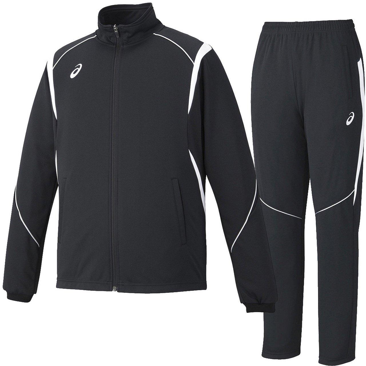asics(アシックス) トレーニング ジャケット パンツ 上下セット 【メンズ】 (XAT143/XAT243) B01C76COMQ 日本 M-(日本サイズM相当)|ブラック/ホワイト ブラック/ホワイト 日本 M-(日本サイズM相当)