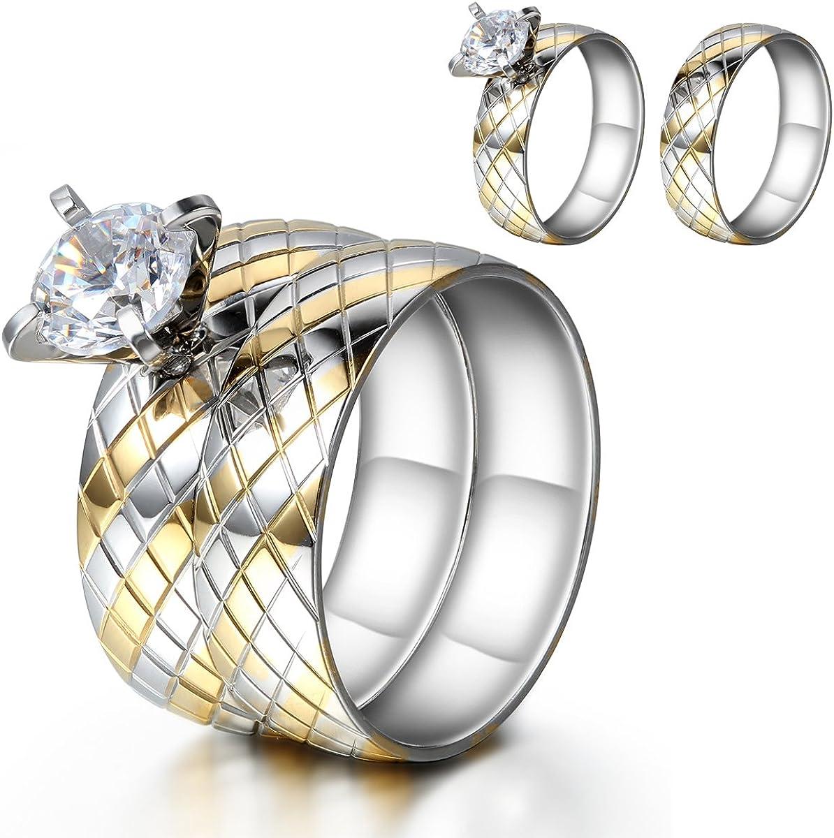 JewelryWe Acero Inoxidable Solitario de Novia Anillo de Compromiso, Boda, 2Piezas Set, Oro Plata (con Bolsa de Regalo)
