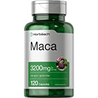 Peruvian Maca Root Capsules   3200mg   120 Count   High Potency Pills   Non-GMO, Gluten Free Supplement   by Horbaach