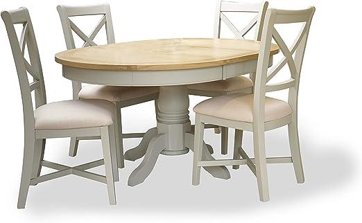 Mesa Chelsea extensible grande de roble pintado + 4 sillas de ...