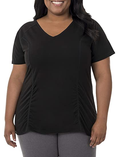 0464208a1 Fit for Me by Fruit of the Loom Women's Plus Size Active Shirred Tee, Black,  5X at Amazon Women's Clothing store: