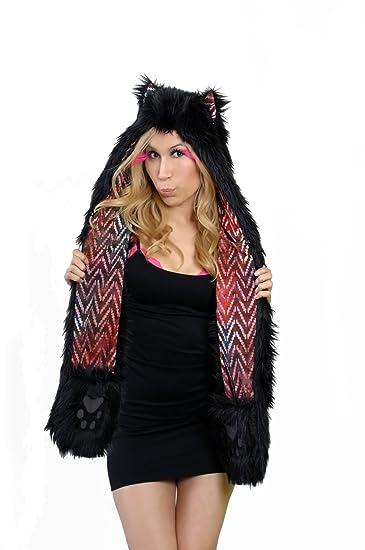 Amazon.com  Womp-A-Wear Faux Fur Black Wolf Hat. One Size. Black ... f9258edc2d9