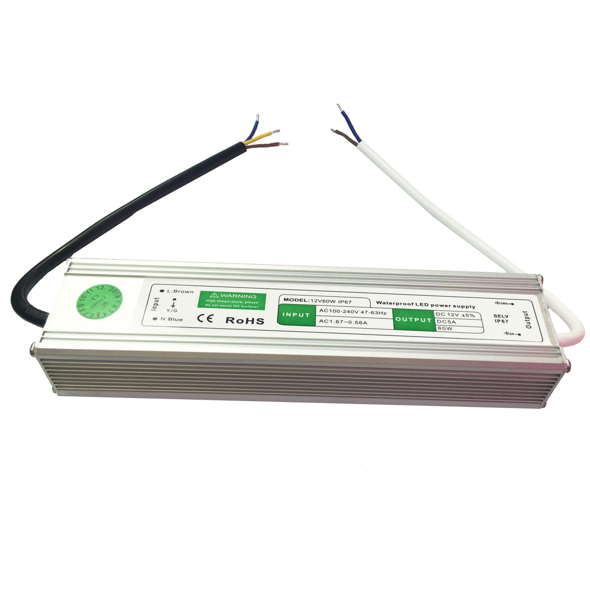 CNBRIGHTER Waterproof 12V DC Transformer,110V-220V AC to 12V DC Power Supply,5A Constant Voltage LED Driver,Adapter for LED Outdoor Landscape Lighting/Strip Lights/Module (60 W)
