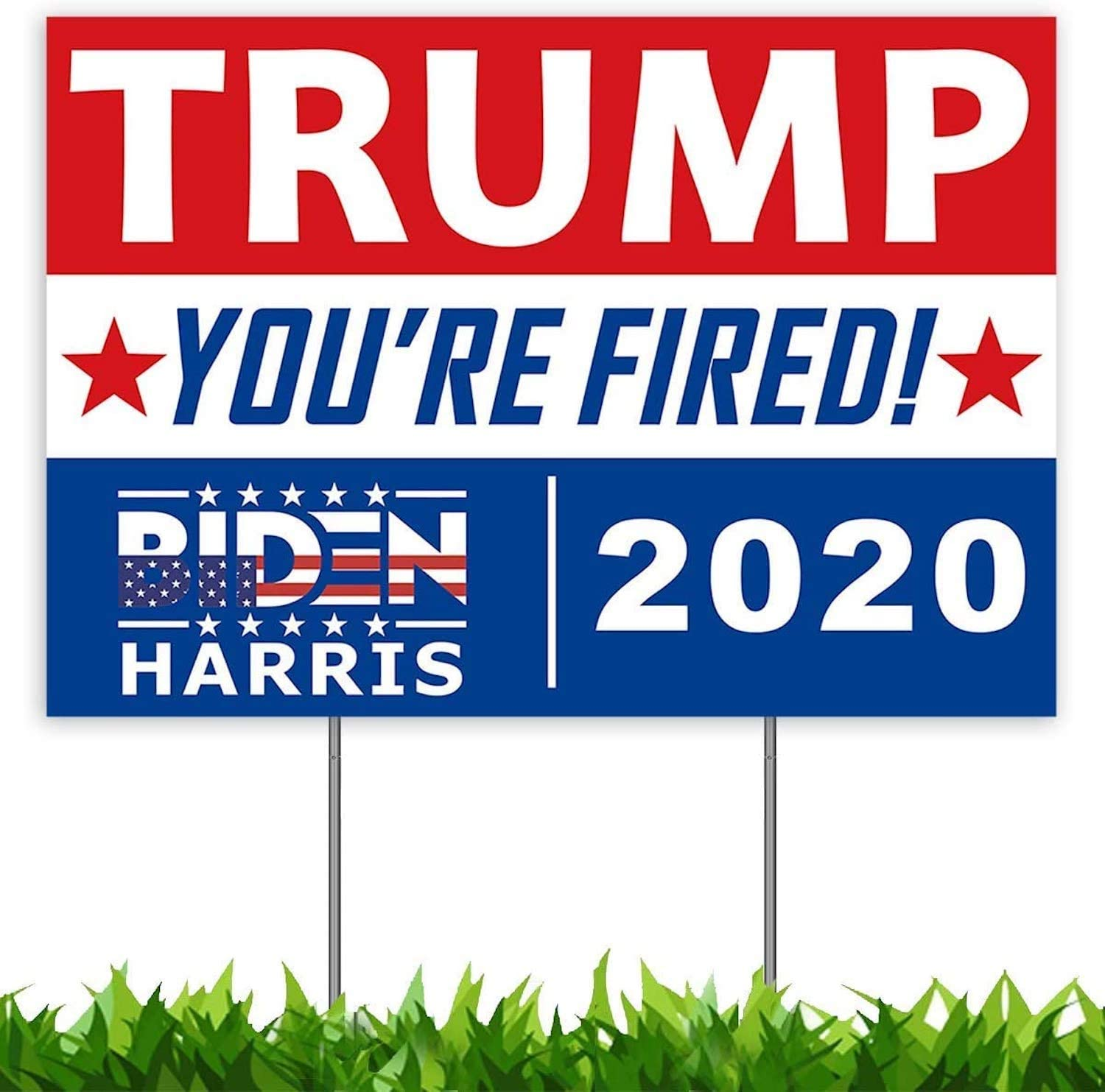 FAVORGEAR Trump You're Fired Yard Sign 18x12, Joe Biden Harris 2020 Yard Sign for Political Campaign Election with Metal Stakes, 2-Sided Printing Corrugated Plastic Banner for Outdoors Patio Garden