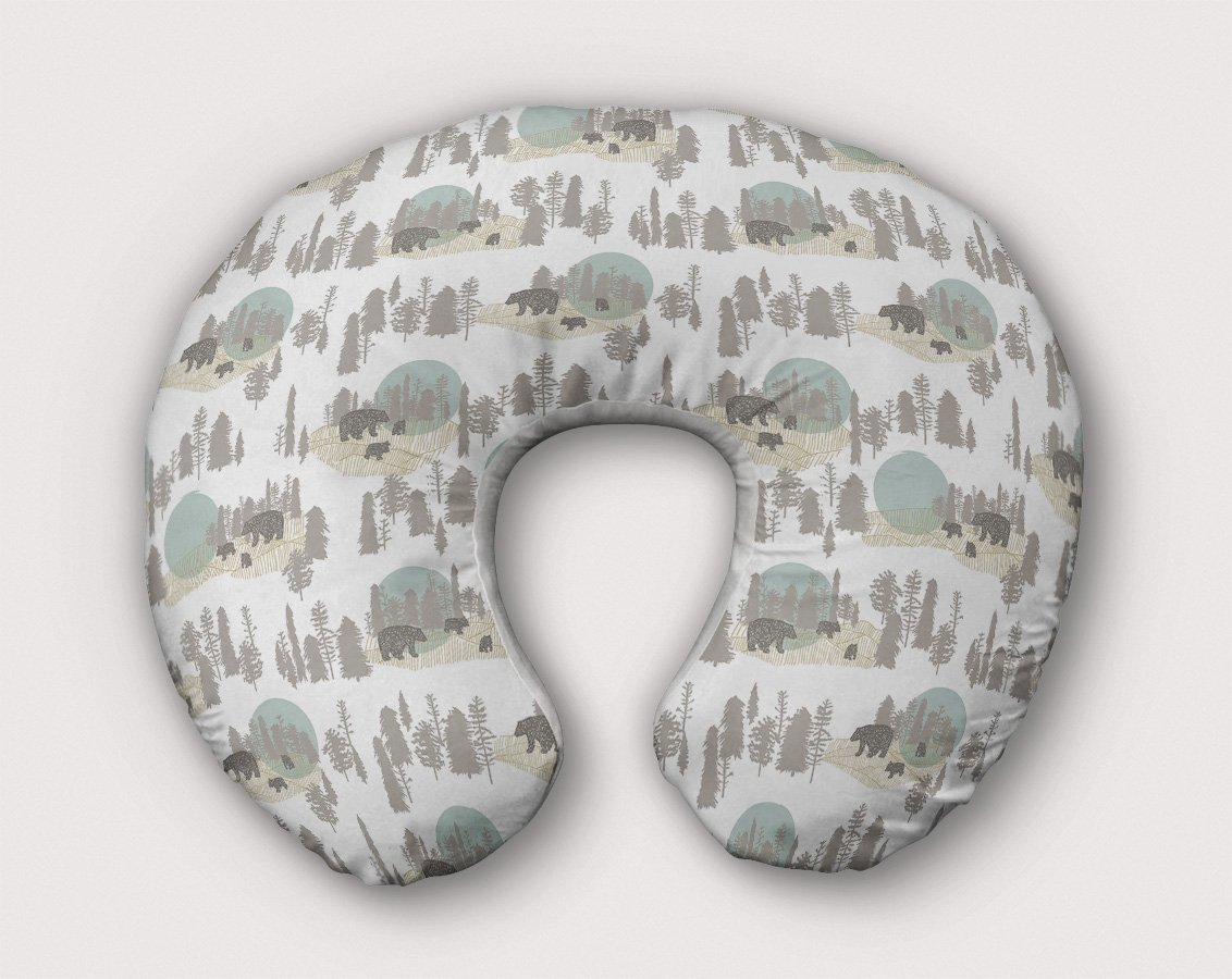 Bears Nursing Pillow Slipcover Woodland Nursery Blue Handmade From NonToxic USA Cotton/Minky