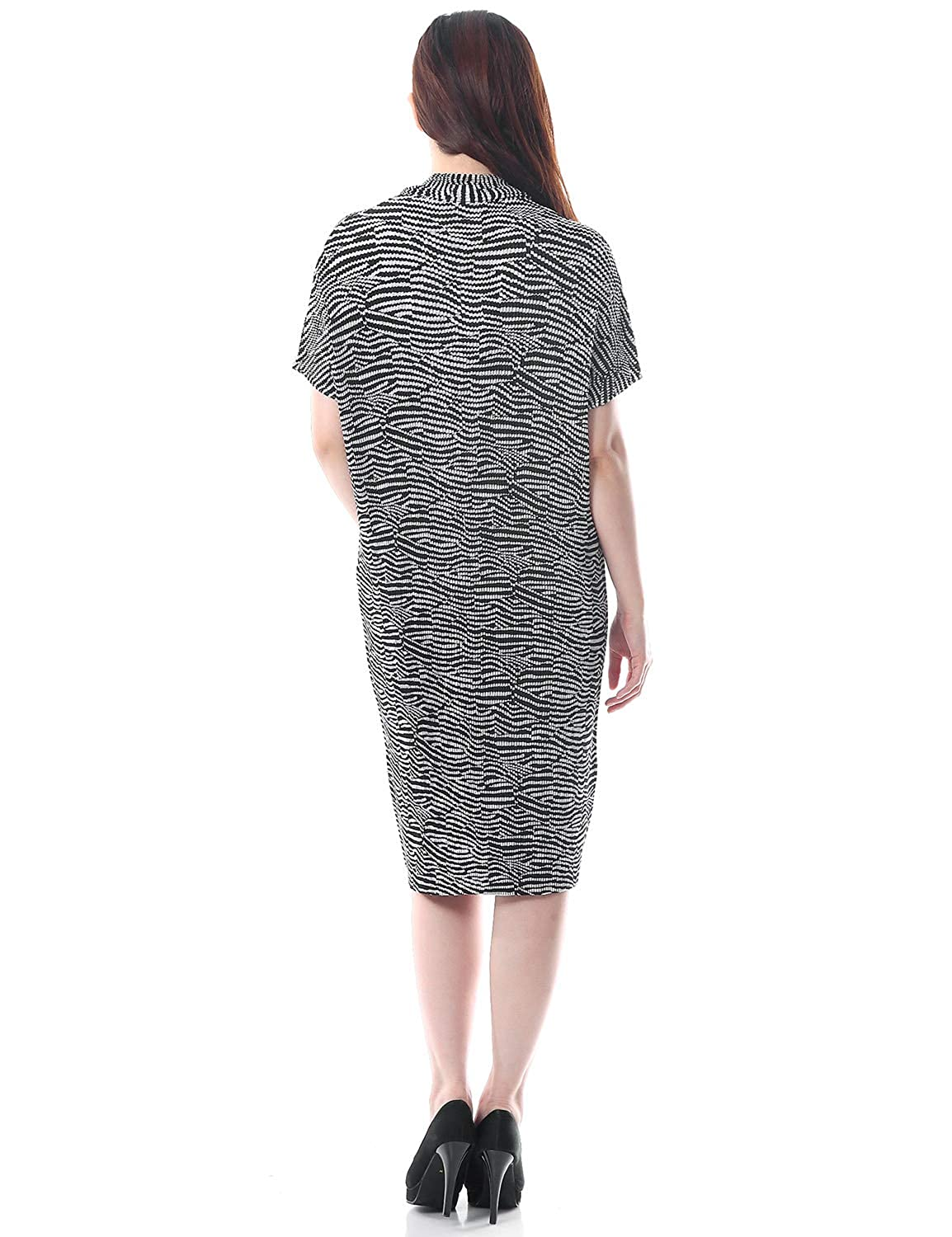 SPECCHIO PLEATS Mono Tone Zebra Print I-line Dress with a ...