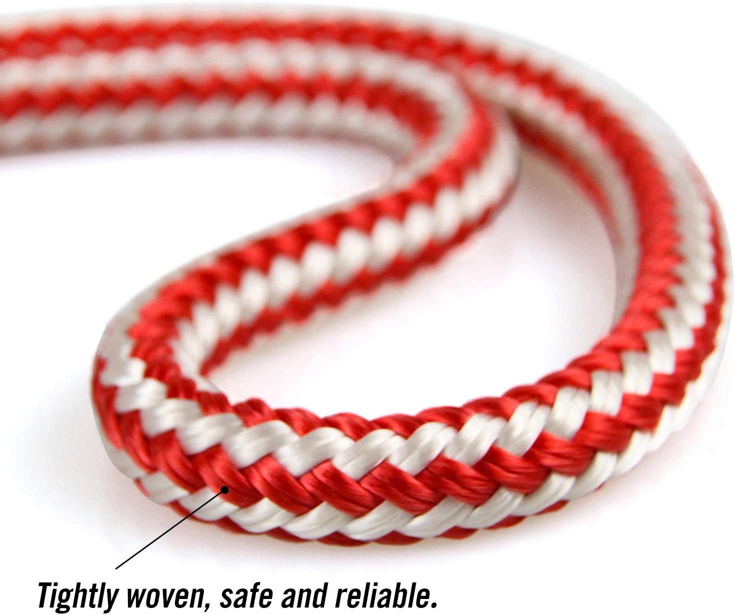 "Perantlb Double Braid 3/7"" 150 ft 24-Strand Nylon Arborist Climbing Rope, Climbing Equipment Fire Rescue Parachute Rope, Boat Rope, Pre-Shrunk, Heat Stabilized, Red/White : Sports & Outdoors"