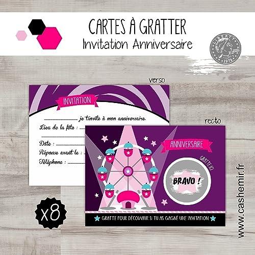 Cartes à Gratter Invitation Anniversaire Enfant Fille Par Lot De 8