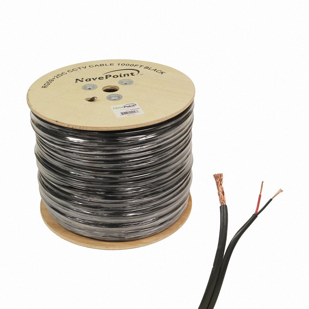 NavePoint 1000ft RG59 Siamese 20AWG 18/2 CCTV Bulk Wire Security Camera Video Cable Black