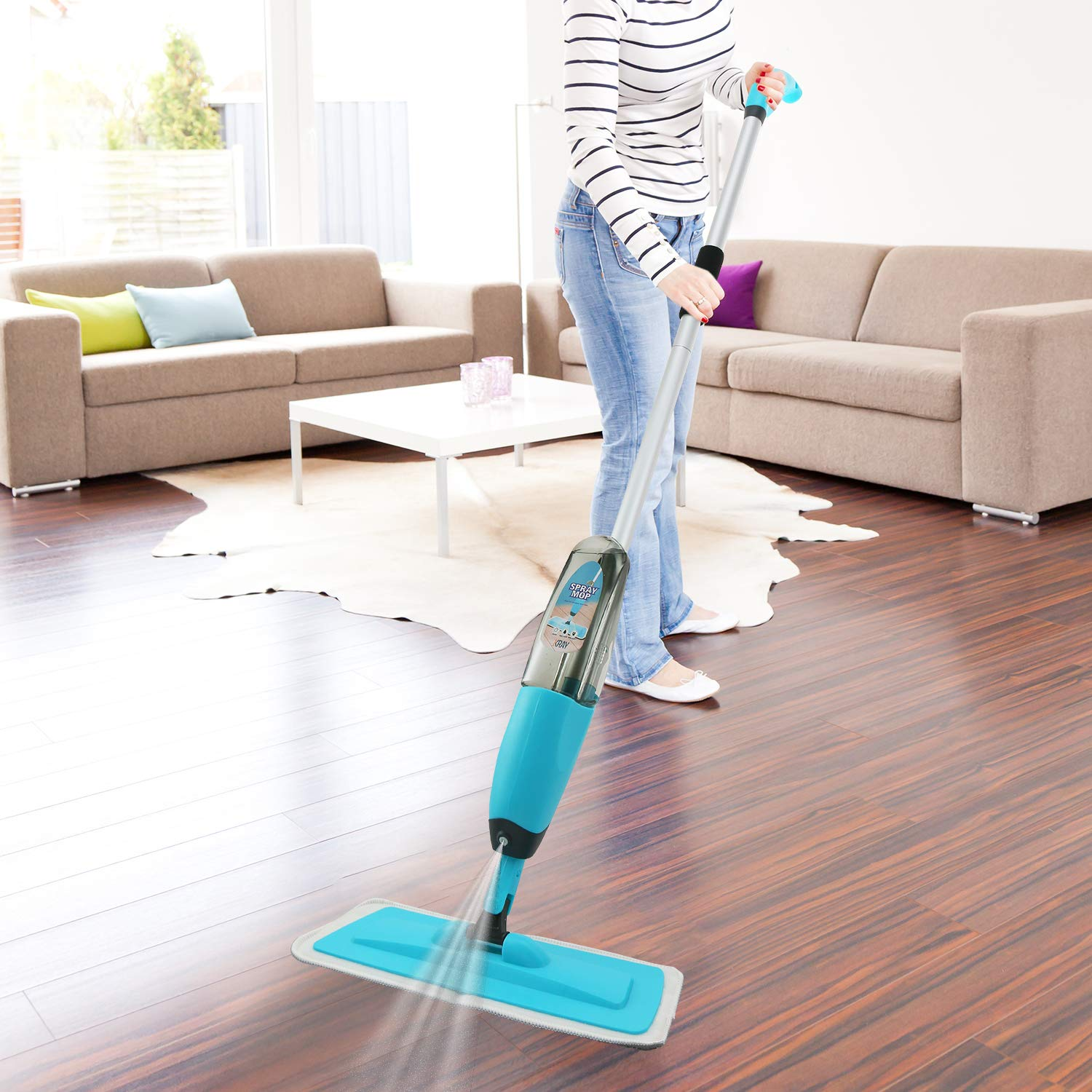 Spray Mop Strongest Heaviest Duty Mop - Best Floor Mop Easy To Use - 360 Spin Non Scratch Microfiber Mop With Integrated Sprayer - Includes Refillable 700ml Bottle & 2 Reusable Microfiber Pads by Kray by Kray (Image #7)