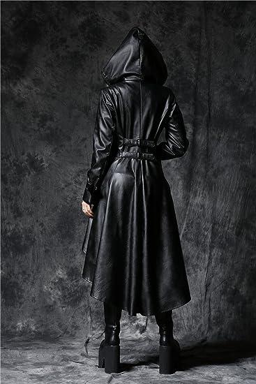 Longue Manteau Noir Imitation Cuir avec Sangles au Dos et Capuche Gothique  Rock  Amazon.fr  Vêtements et accessoires 03f50aed101e