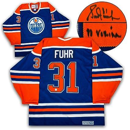 f5b783b2c Grant Fuhr Edmonton Oilers Autographed Retro CCM Hockey Jersey w  Vezina  Note