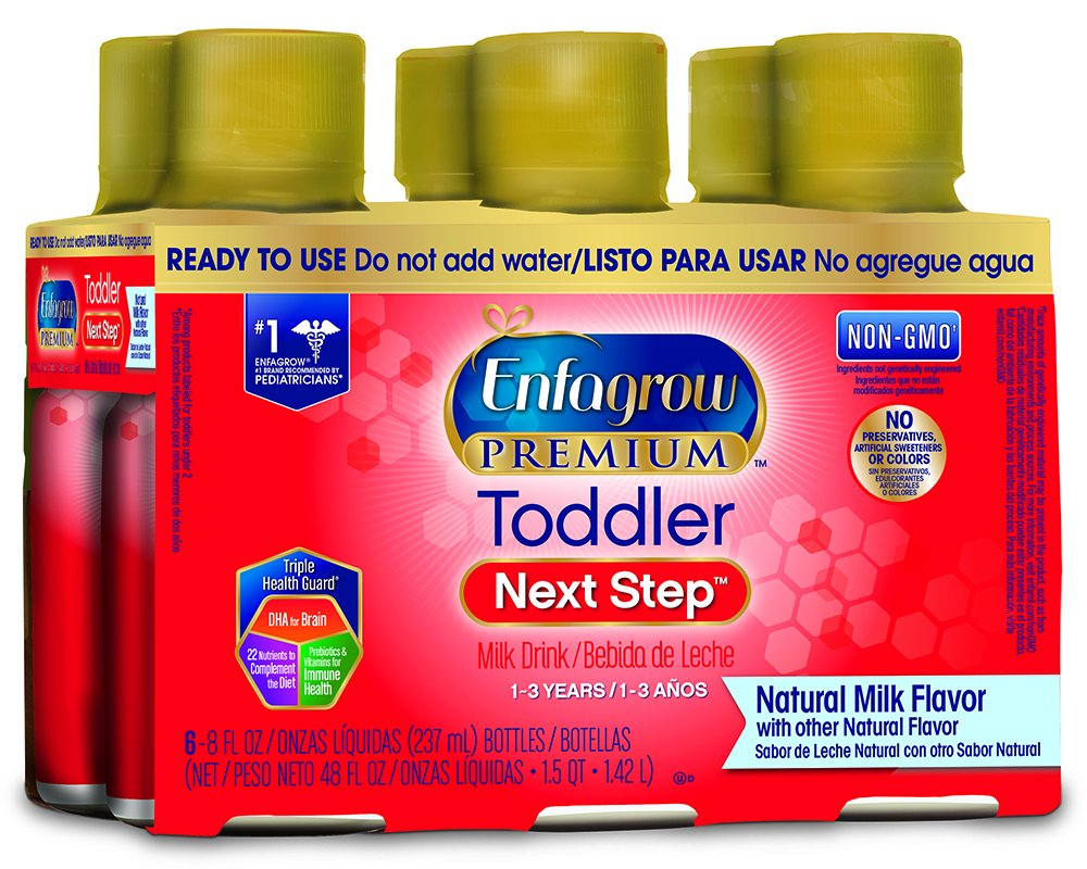 Enfagrow PREMIUM Toddler Next Step, Natural Milk Flavor - Ready to Use Liquid, 8 fl oz, Pack of 4 (6 count)