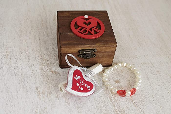 Valentines Day Gift For Her Love Message In A Wooden Jewelry Box