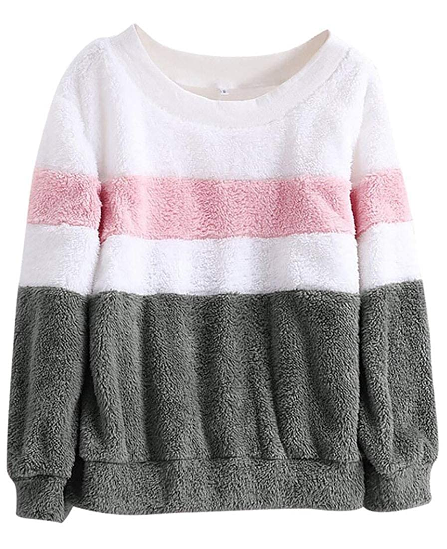 b3ee8c013c HTOOHTOOH Womens Fleece Crewneck Winter Color Block Knit Pullover Sweaters  at Amazon Women s Clothing store