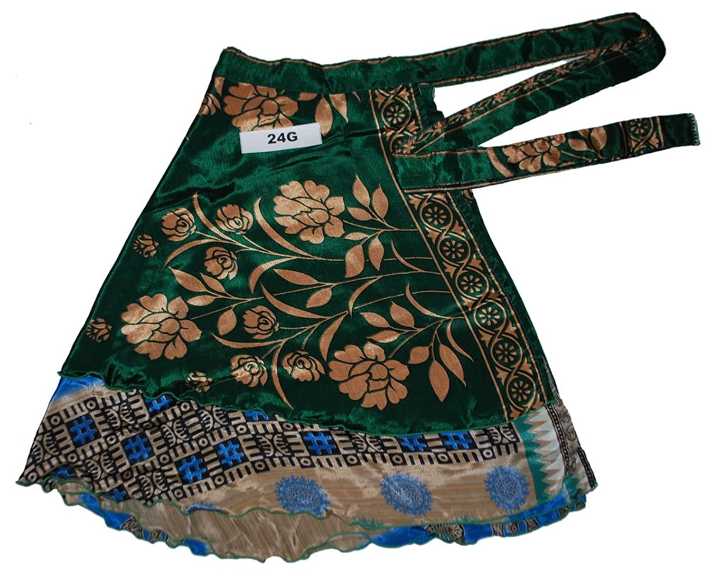 Short Reversible Silk Blended Wrap Peasant Skirt