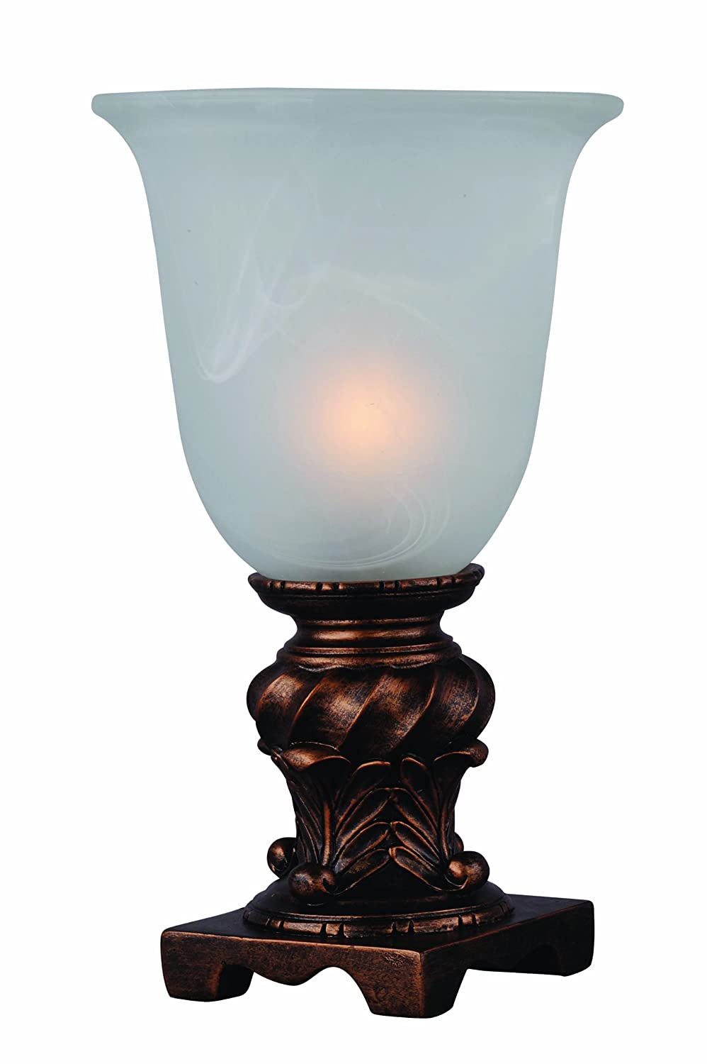 Park Madison Lighting PMA-1031 10-Inch Tall Glass Urn Accent Lamp with Frosted Glass Shade, Antique Bronze Finish