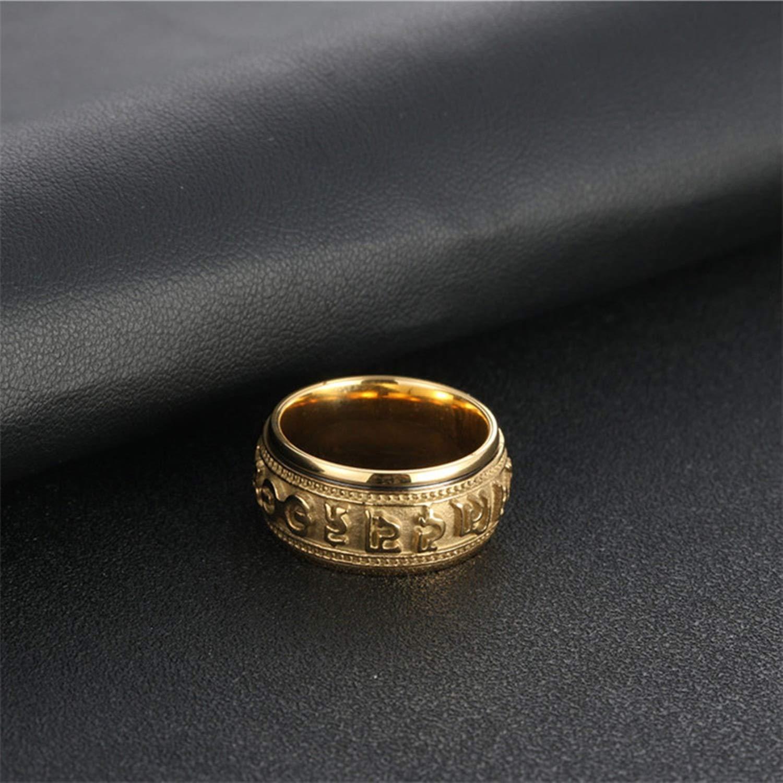 Epinki Ring for Men Titanium Ring Six Words Mantra Rotatable Ring Men Ring Band Men Accessories