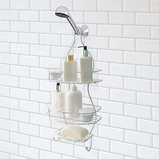 Splash Home Aluminum Kohala Shower Caddy Bathroom Hanging Head Two Basket Plus x