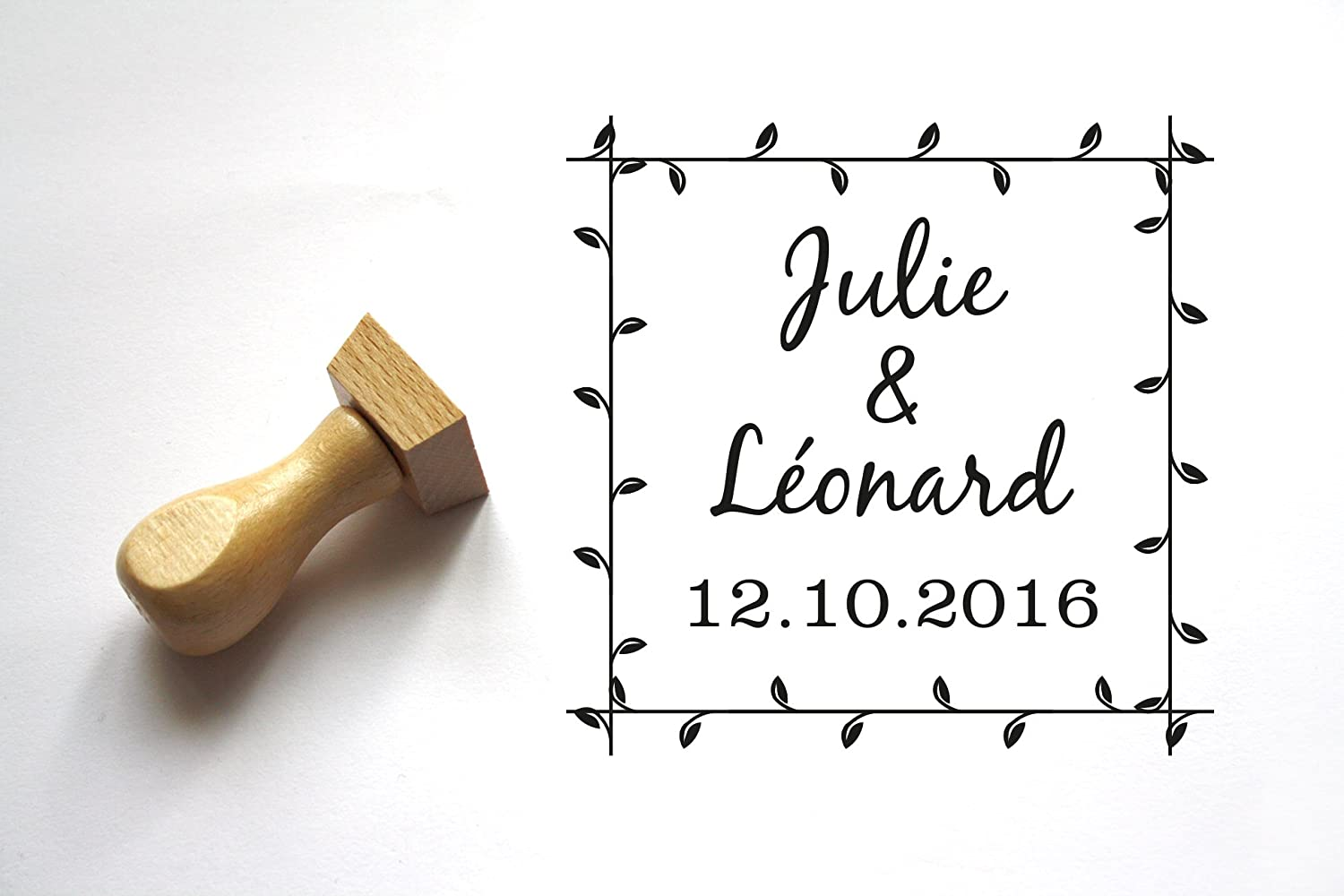 Wedding stamp personalized, flowers, leaves pattern, custom countryside style with your names and date, square shape.