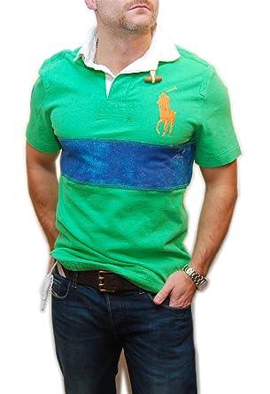 Polo Ralph Lauren Mens Big Pony Custom Fit Rugby Shirt Green Blue Orange  Small