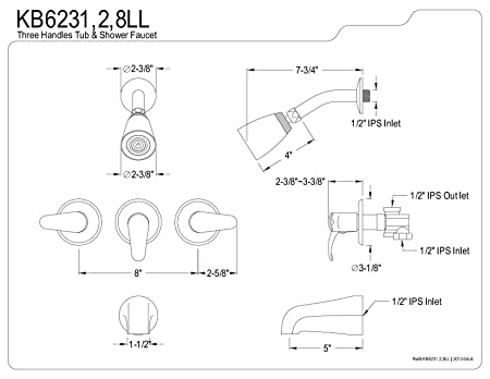 Kingston Brass Kb6238ll Legacy Tub And Shower Faucet Satin Nickel
