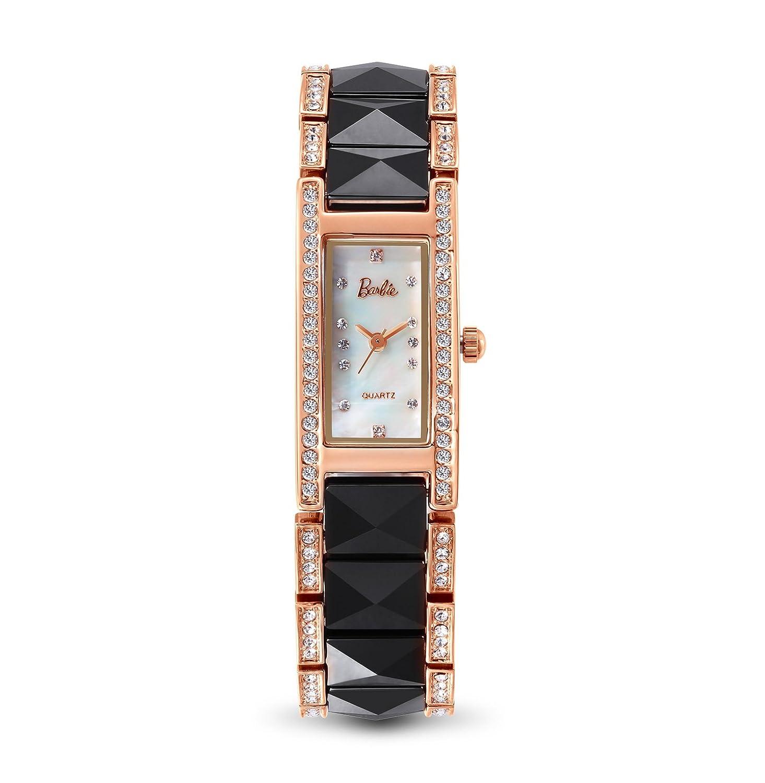 Barbie Uhr Armband Damen aus Keramik - Quarante in Perlmutt - verziert mit Strass - wasserdicht 3 ATM - Farbe Weiß - Schwarz