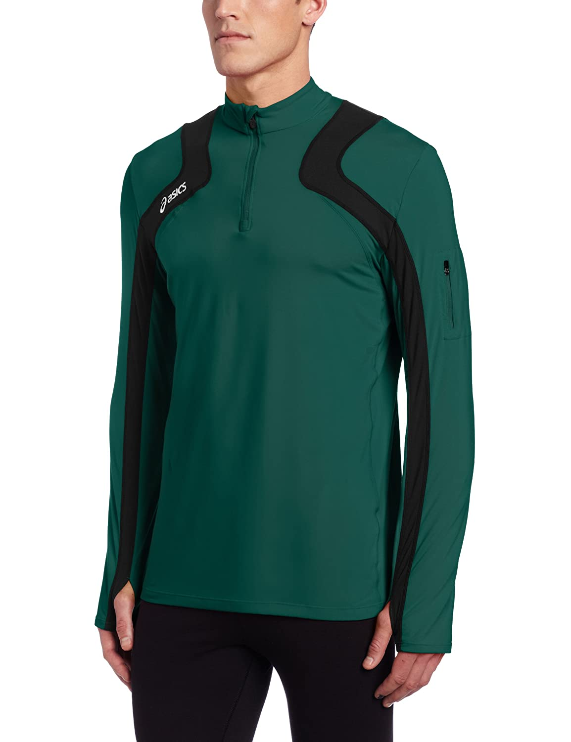 Asics Herren Team Tech Half Zip, Herren, Forest/Black, X-Large
