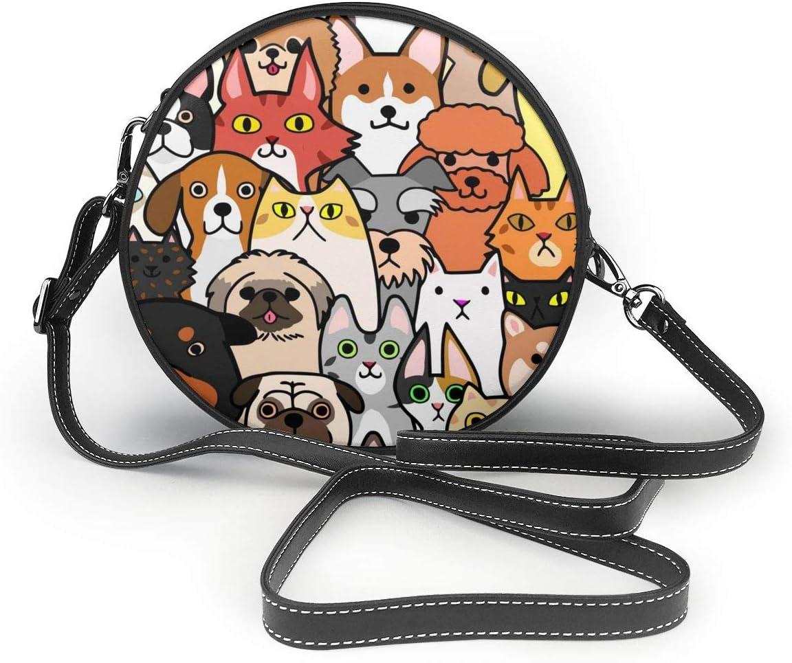 Bolsos de hombro Bolsos redondos para mujeres Doodle sin costuras Perros y gatos Caras Fondo colorido Bolso circular de cuero Crossbody