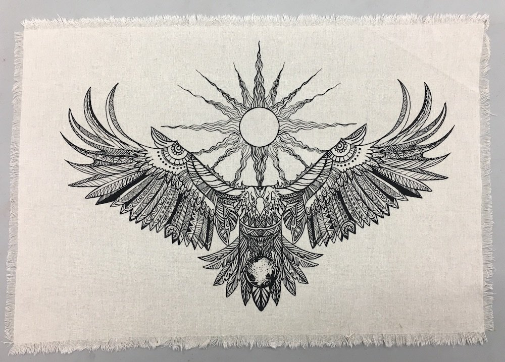 Printed Linen Eagle Spirit Sacred Geometryクリスタルグリッド祭壇布   B071HYJ47X