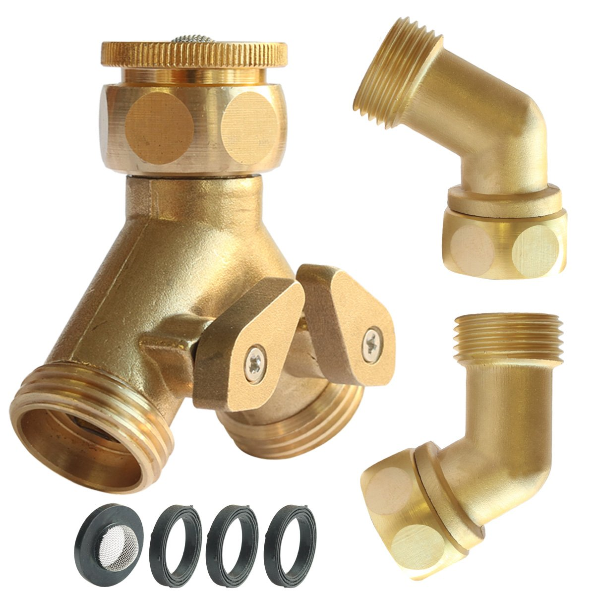 PLG 2 Way Hose Shut-Off Valve + Hose Elbow Connector,Heavy Duty Brass,Filter Washers & Faucet Adapter Included.