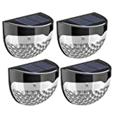 (4 Pack) Solar Lights, TopElek 6 LED Solar Powered Security Lights,Waterproof Outdoor Solar Powered Wireless Sensor Fence Light for Garden, Patio, Fence, Yard, Pathway, Hall, Driveway, Garage, Stairway, Gate, Wall (Built-in rechargeable Ni-MH battery)