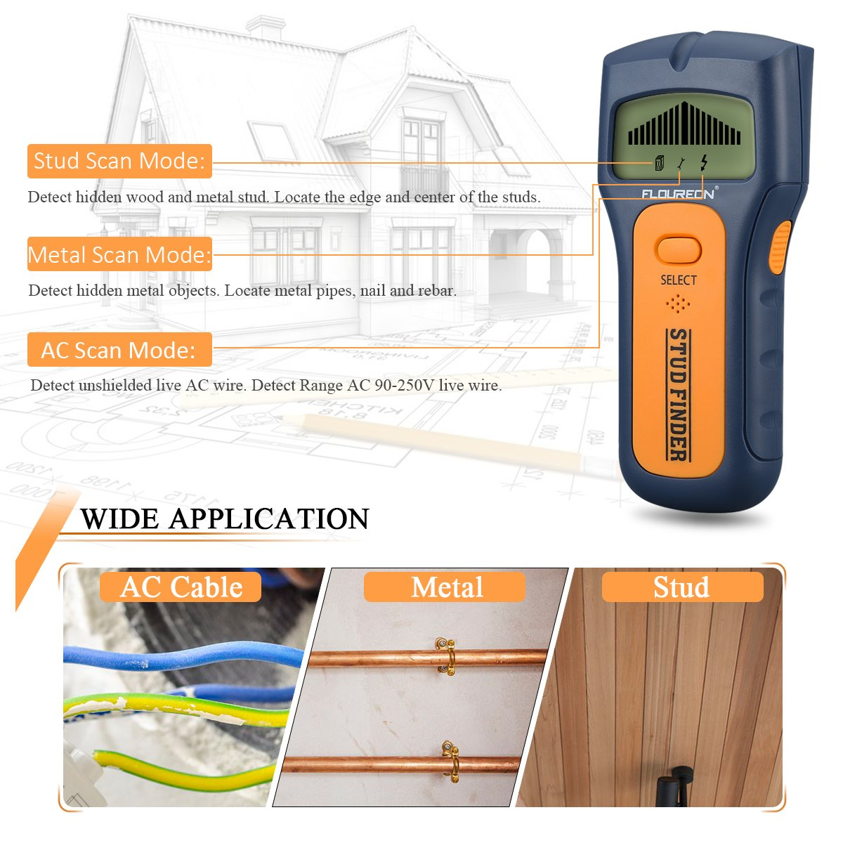 FLY5D 3 In 1 Wire Metal Wood Detectors Stud Finder Sensor Wall Scanner AC Voltage Live Wire Cable Finder Detect Behind Wall LCD Display - - Amazon.com
