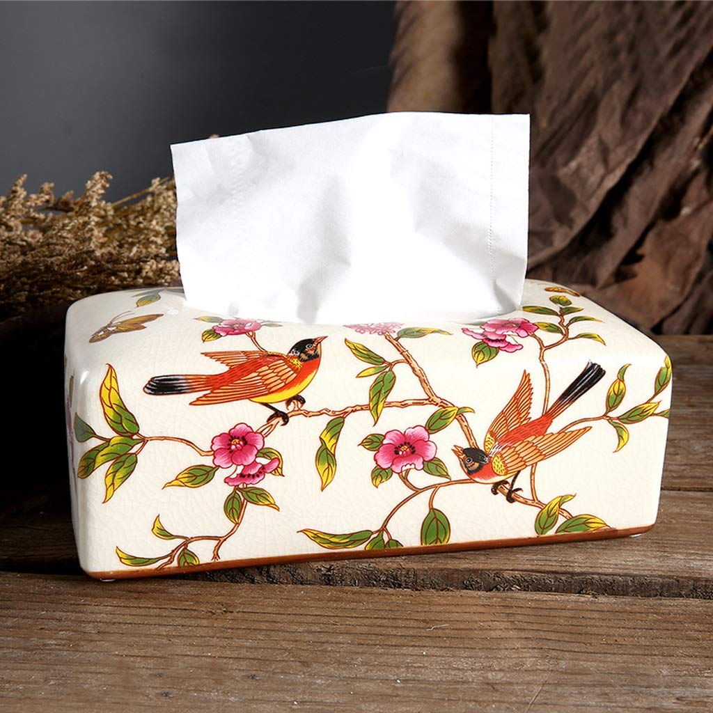 UCYG Ceramics Tissue Box Modern Home Living Room Coffee Table Decoration Desktop Creative Storage Napkin Box,Blue, Pink, White, Yellow,25.512.59.5cm (Color : Pink) by UCYG