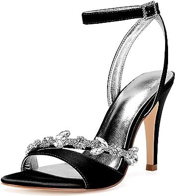 LLBubble Women High Heels Satin Crystals Wedding Bridal Sandals Open Toe Zipper Back Straps Prom Evening Formal Party Dress