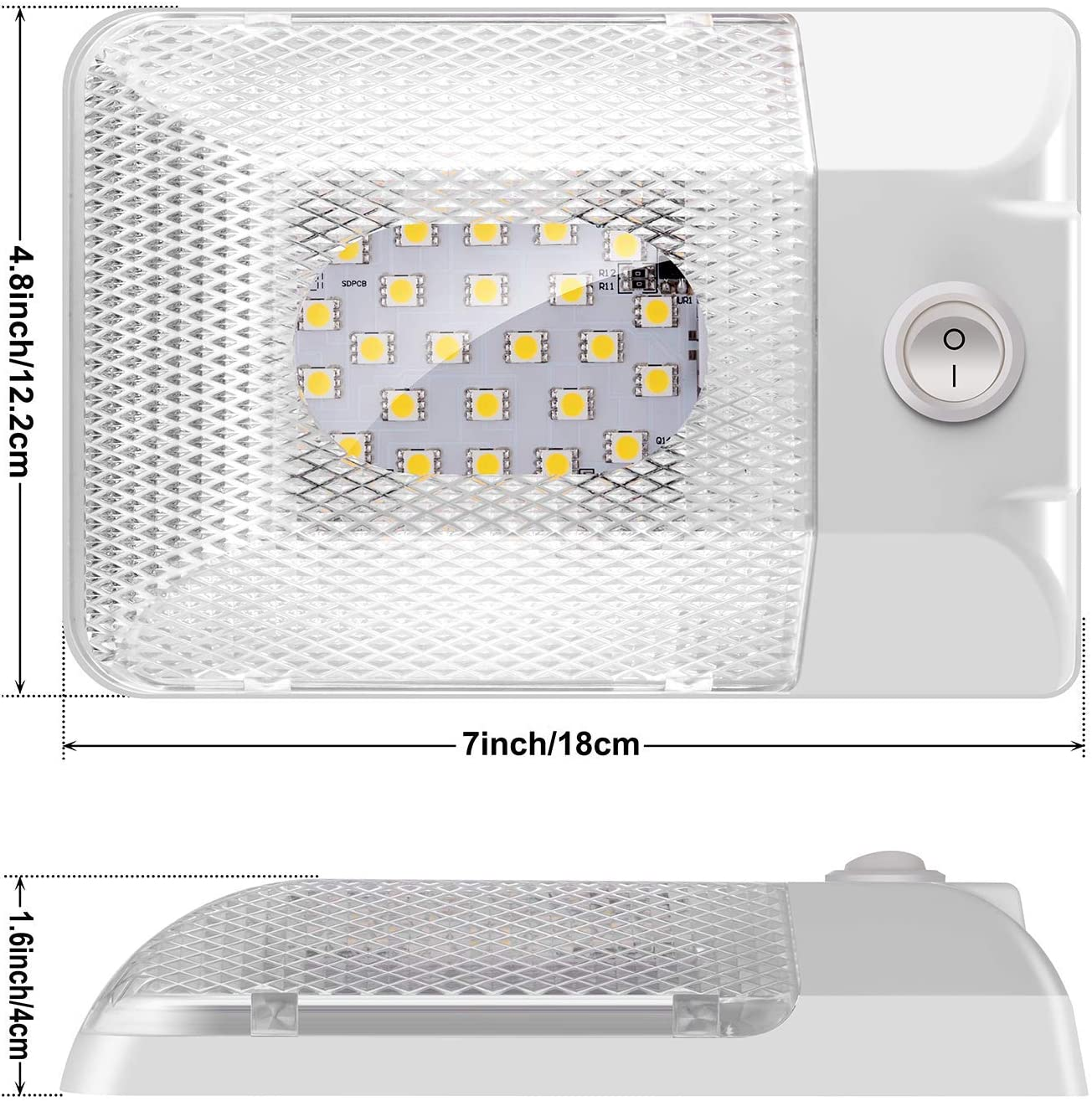 TurnRaise Led RV Ceiling Dome Light RV Interior Lighting with Switch,DC11-18V,300LM,24pcs 5050SMD LED Bulbs for RV//Car//Trailer Boat//Camper 2 Pack