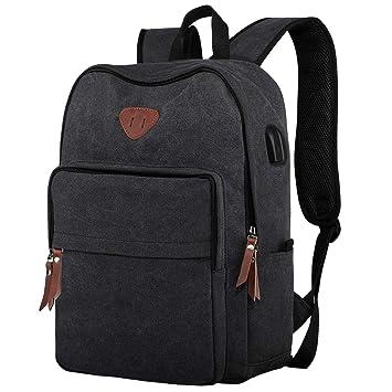 757c733dbdd ibagbar Canvas Backpack Rucksack, Vintage Laptop Backpack with USB Charging  Port Casual School Bag Travel