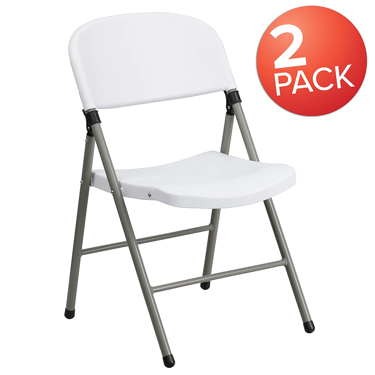 Flash Furniture HERCULES Series White Plastic Folding Chairs | Set of 2 Lightweight Folding Chairs with Gray Frame