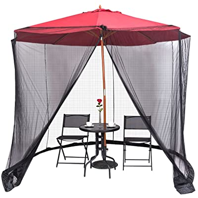 9/10FT Umbrella Table Screen Cover Mosquito Bug Insect Net Outdoor Patio Netting: Kitchen & Dining