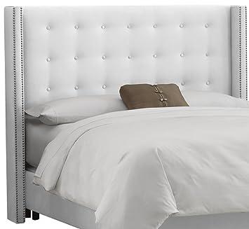 Good Skyline Furniture Nail Button Tufted Wingback King Headboard In Velvet White