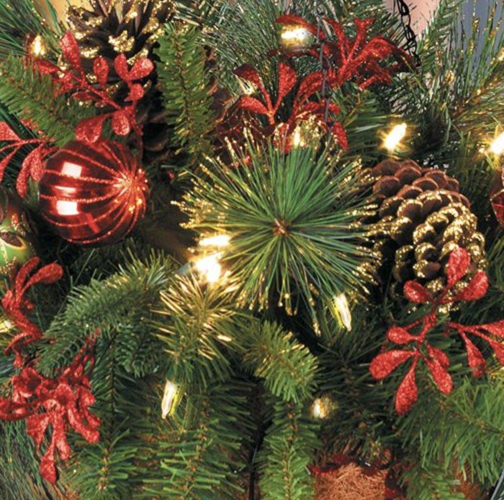 Pre-Lit Merry & Bright Christmas Hanging Basket