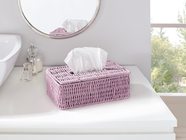 solide support en m/étal tress/é de ficelle de papier couvercle /à charni/ères tons de violet Boite pour mouchoirs