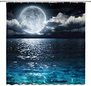 AMFD Moon Shower Curtain Full Moon Over Sea Ocean Clouds Planet Star Sky Dreamy Night Scene Black Red Bathroom Curtains Decor Polyester Fabric Waterproof 70 x 70 Inches Include Hooks