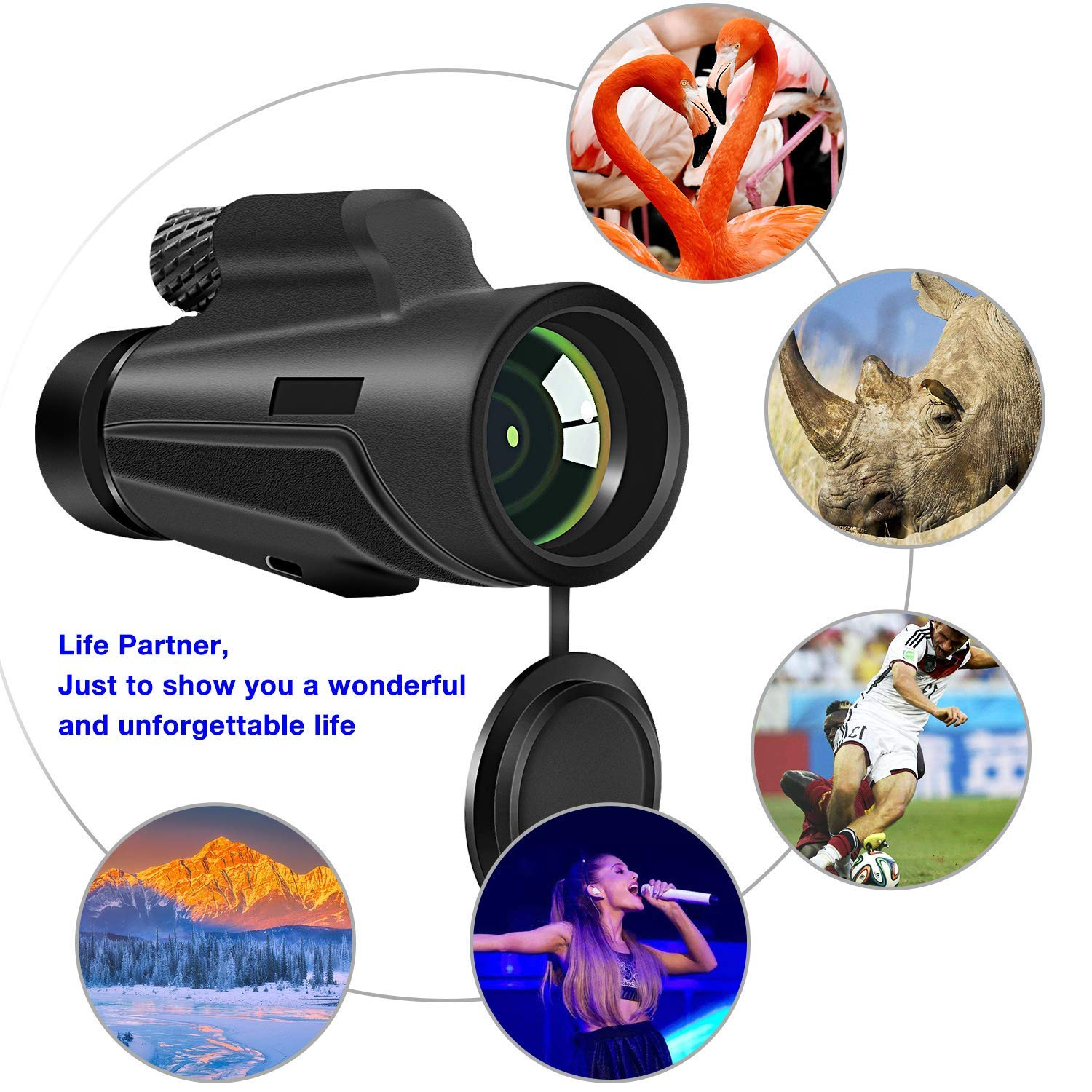Monocular Telescope, 12x50 High Power BAK4 Prism Telescope, Portable Waterproof Spotting Scope with Quick Smartphone Holder Tripod and Neck Strap for Outdoor Bird Watching Hunting Hiking by highbrain (Image #3)