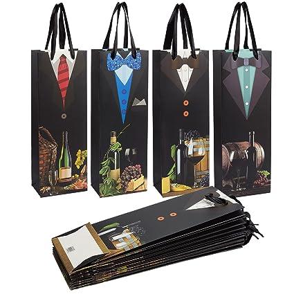 Bolsas para botellas de vino (12 unidades de bolsas de vino, ideal para botellas, bolsas de almacenamiento de viaje, accesorios de picnic, 4 diseños ...