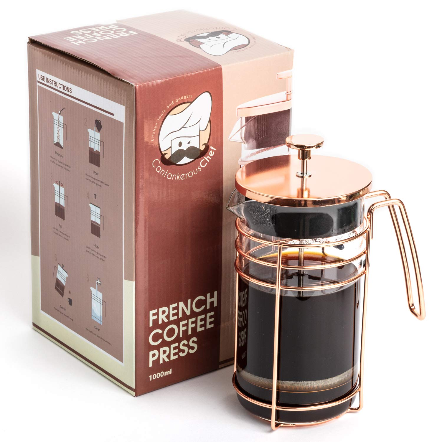 Cantankerous Chef Rose Gold French Press - Large 8 Cup Coffee Press - Best Coffee Maker - Elegant Original Finishing - Sturdy Small Mesh Filter Borosilicate Glass With 3-part Stainless Steel Plunger by Cantankerous Chef