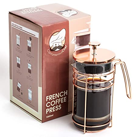 Cantankerous Chef Rose Gold French Press – Large 8 Cup Coffee Press – Best Coffee Maker – Elegant Original Finishing – Sturdy Small Mesh Filter Borosilicate Glass With 3-part Stainless Steel Plunger