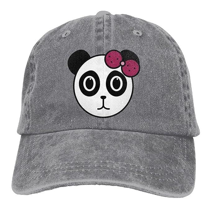 3bc1900124a0e Arsmt Panda Girl With Pink Hair Bow Denim Hat Adjustable Mens Baseball Cap