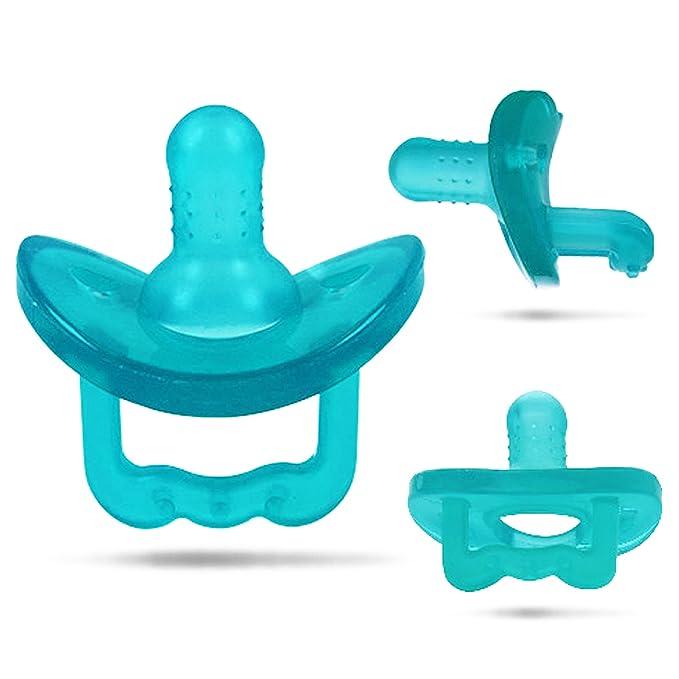 Anillo de dentición del bebé con el guante de dentición, el chupete de nacimiento de silicona y el clip de chupete. Juguete de dentición para bebés, ...